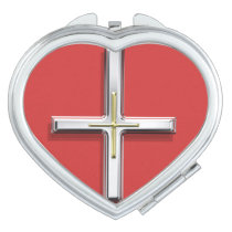 Cross Compact Heart-Shaped Mirror