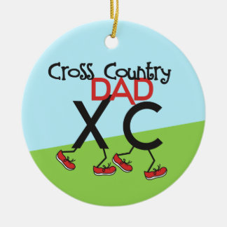 Cross Country Dad - front and back Ceramic Ornament