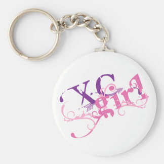 Cross Country Girl Basic Round Button Keychain