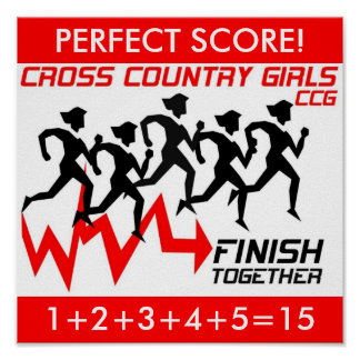 """CROSS COUNTRY GIRLS """"PERFECT SCORE!"""" POSTER"""