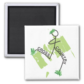 Cross Country Grass Runner 2 Inch Square Magnet