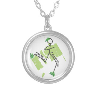 Cross Country Grass Runner Silver Plated Necklace