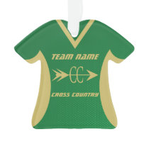 Cross Country Green and Gold Sports Jersey Ornament
