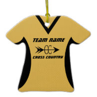 Cross Country Jersey Gold Black Christmas Ornaments