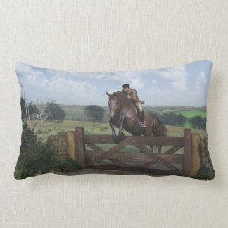 Cross Country - Jumping Horse Lumbar Throw Pillow