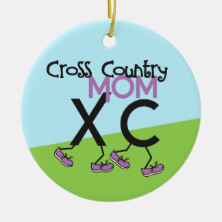 Cross Country Mom - front and back Double-Sided Ceramic Round Christmas Ornament