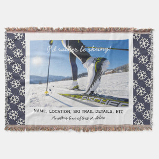 Cross Country Nordic Skiing Custom Ski Photo Throw