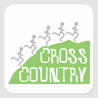 Cross Country Runner on Hill © Square Sticker