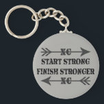 "Cross Country Runner Strong Keychain<br><div class=""desc"">Start strong finish stronger! Cross country runners have guts. Here is a new keychain to give to your teammates.</div>"
