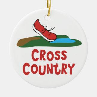 Cross Country Running Ceramic Ornament