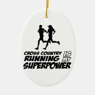 Cross Country running designs Double-Sided Oval Ceramic Christmas Ornament