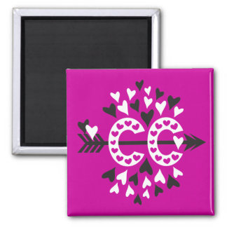 Cross Country Running Love 2 Inch Square Magnet