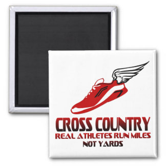Cross Country Running 2 Inch Square Magnet