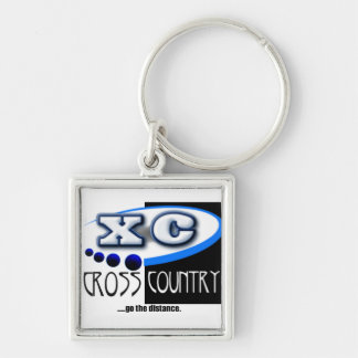 CROSS COUNTRY RUNNING MOTTO - GO THE DISTANCE XC Silver-Colored SQUARE KEYCHAIN