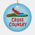 Cross Country Running Double-Sided Ceramic Round Christmas Ornament