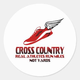 Cross Country Running Round Sticker