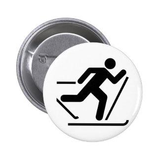 Cross Country Ski Symbol Button