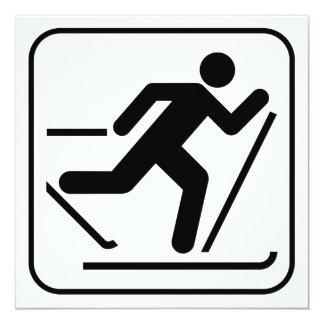 """Cross Country Ski Symbol Invitation 5.25"""" Square Invitation Card"""
