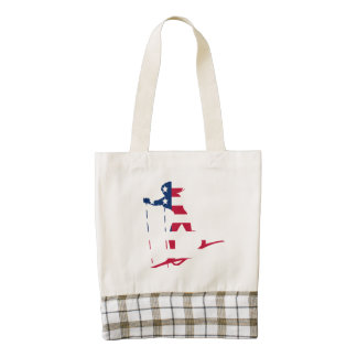 Cross Country Skier American Flag Zazzle HEART Tote Bag