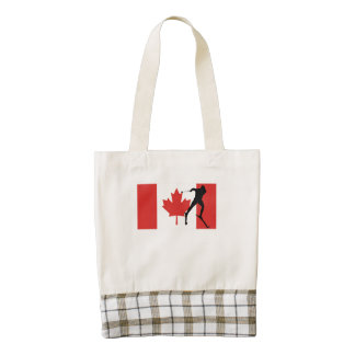 Cross Country Skier Canadian Flag Zazzle HEART Tote Bag