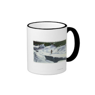 Cross-Country Skier Pauses by Mountain Brook Coffee Mugs