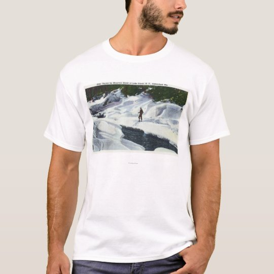 Cross-Country Skier Pauses by Mountain Brook T-Shirt