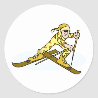 Cross Country Skier Round Stickers