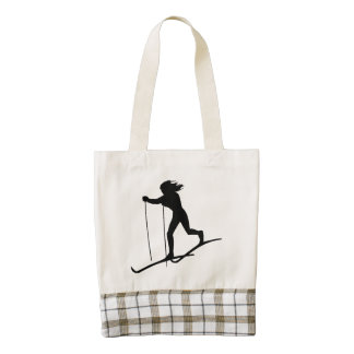 Cross Country Skier Zazzle HEART Tote Bag