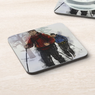 Cross Country Skiers Drink Coaster