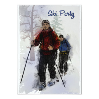 Cross Country Skiers Party 5x7 Paper Invitation Card