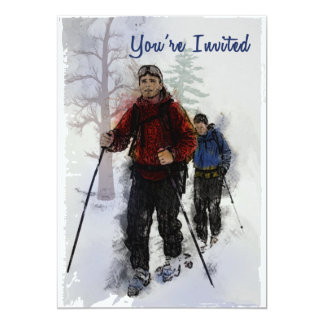Cross Country Skiers You're Invited 5x7 Paper Invitation Card