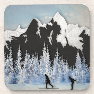Cross Country Skiing Beverage Coaster
