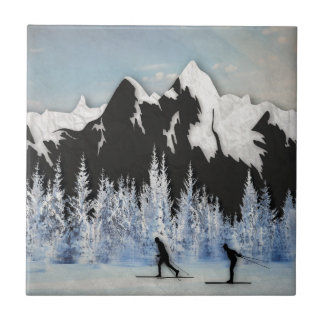 Cross Country Skiing Ceramic Tile