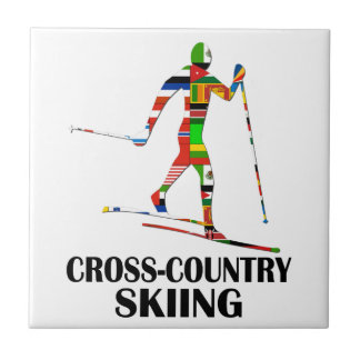 Cross-Country Skiing Ceramic Tile