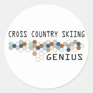 Cross Country Skiing Genius Classic Round Sticker
