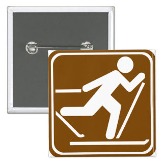 Cross Country Skiing Highway Sign Pinback Buttons