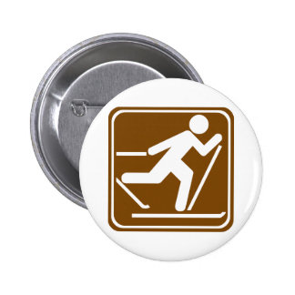 Cross Country Skiing Highway Sign Pinback Button