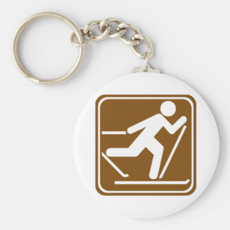 Cross Country Skiing Highway Sign Keychain