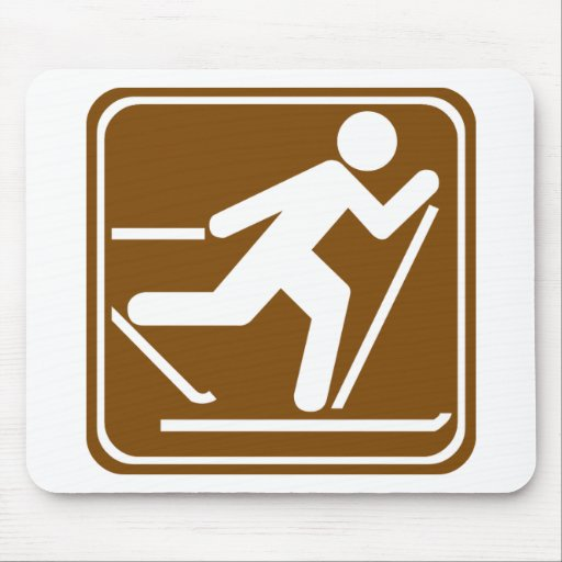 Cross Country Skiing Highway Sign Mouse Mat