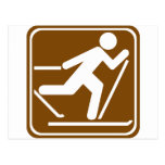Cross Country Skiing Highway Sign Post Card