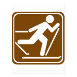 Cross Country Skiing Highway Sign Postcards