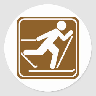 Cross Country Skiing Highway Sign Round Stickers