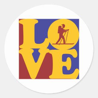 Cross Country Skiing Love Classic Round Sticker