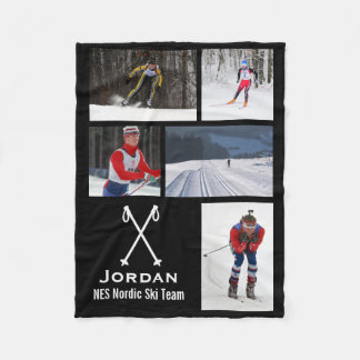 Cross Country Skiing Nordic Racing Photo Collage Fleece Blanket