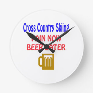Cross Country Skiing pain now beer later Wallclock