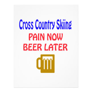 Cross Country Skiing pain now beer later Letterhead Template