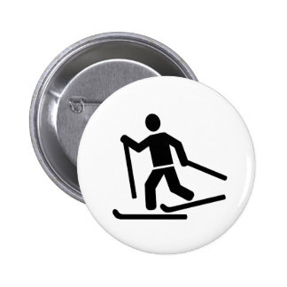 Cross-country skiing pinback button