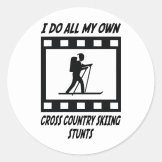 Cross Country Skiing Stunts Classic Round Sticker
