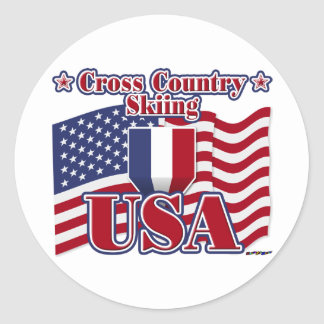 Cross Country Skiing USA Classic Round Sticker