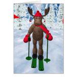 Cross-Country Skiing Whimsical Reindeer Greeting Card